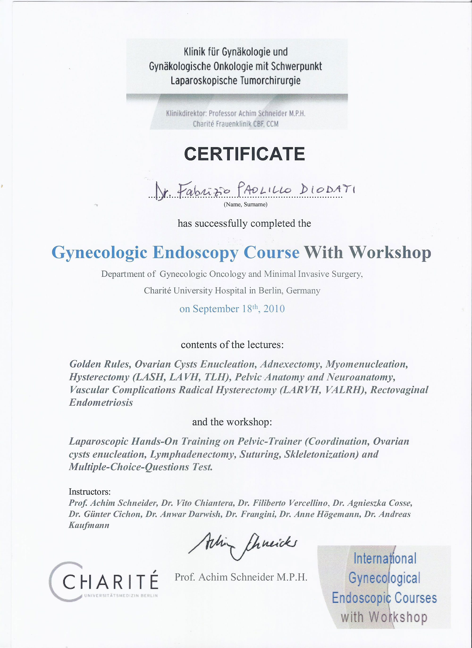 Gynecologic Endoscopy Course