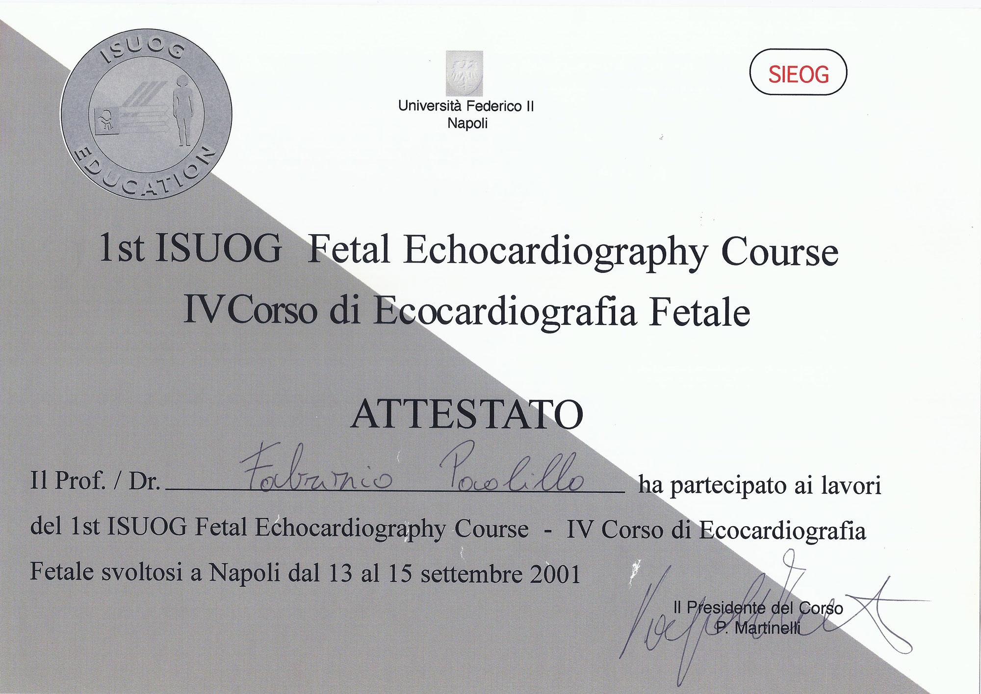 1st ISUOG Fetal Echocardiography Course - IV Corso di Ecocardiografia Fetale
