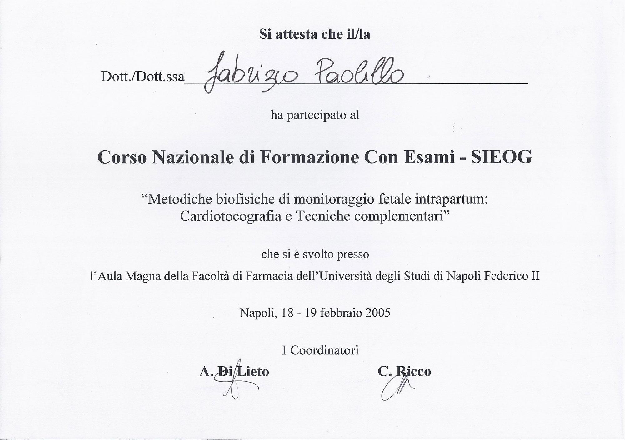 Corso Nazionale di formazione con esami - SIEOG
