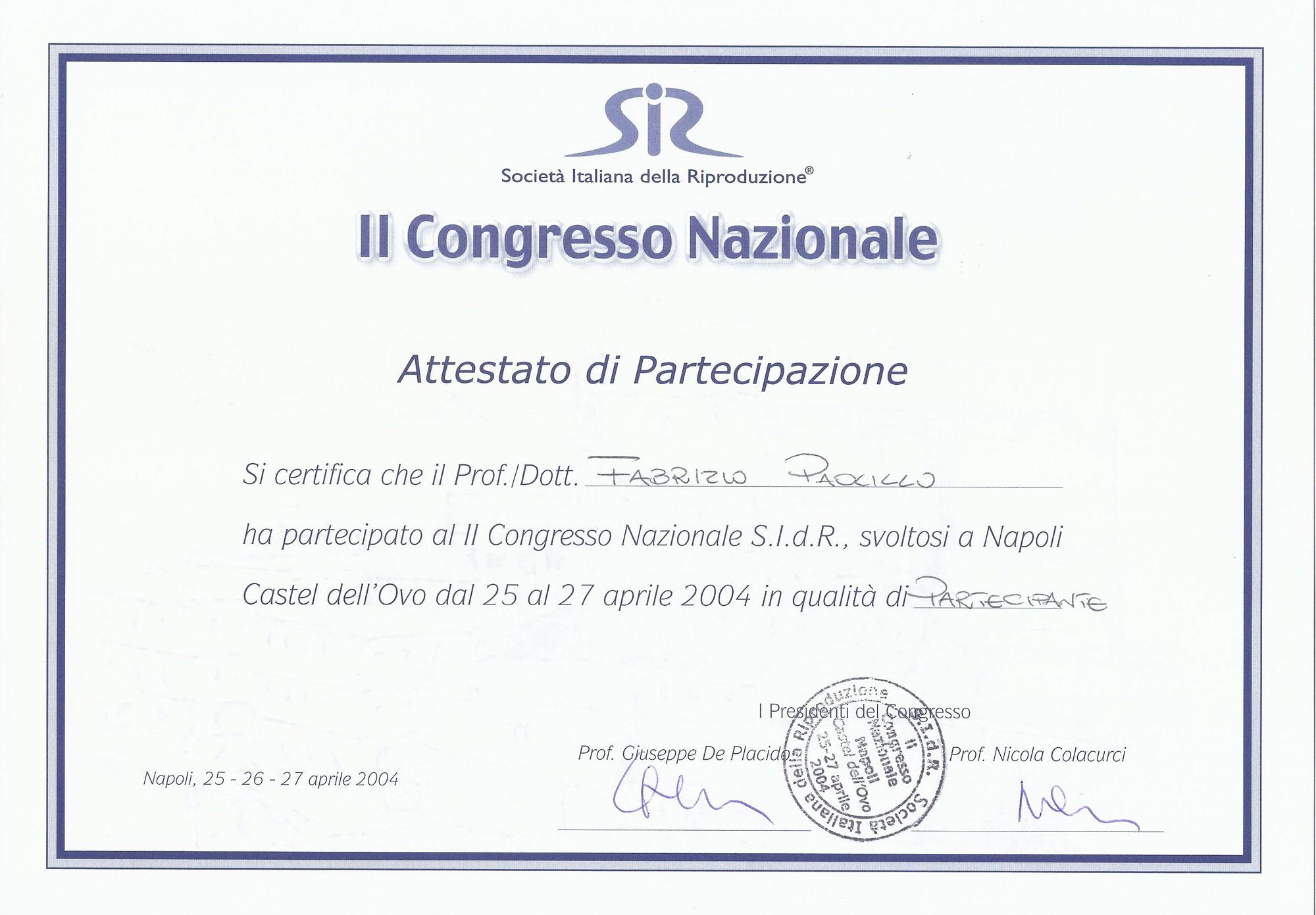 Società Italiana della Riproduzione - II Congresso Nazionale